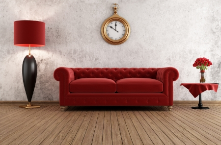 vintage livingroom with classic couch against grunge wall - rendering