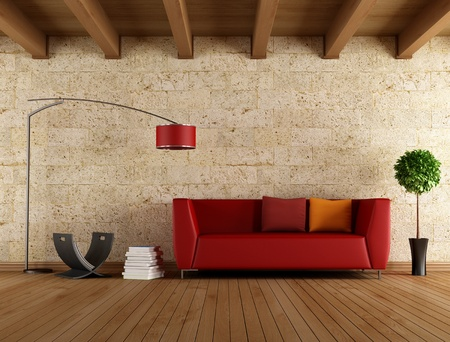 Photo pour Modern red sofa in a old room - rendering - image libre de droit