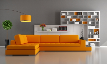 Contemporary livingroom with orange sofa and bookcase - rendering