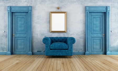 Blue empty vintage room with two classic doors and luxury armchair- rendering