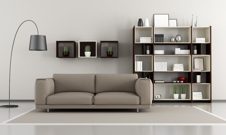 Photo pour Contemporary livingroom sofa and bookcase - rendering - image libre de droit