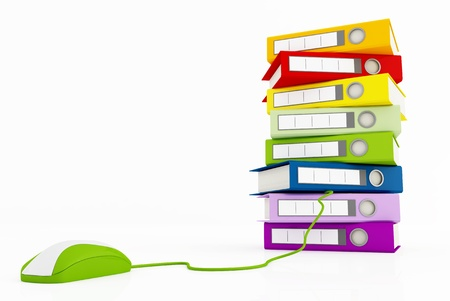 Stack of ring binder and green mouse conceptual image for many use - rendering