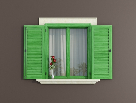 detail of a green window with shutters open - rendering