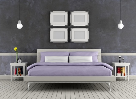 Modern double bed in a vintage room - rendering