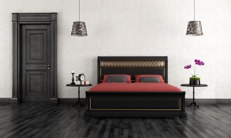Black and white vintage bedroom - rendering