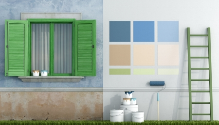select color swatch to paint wall of an old house - rendering