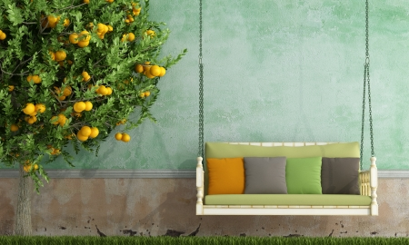 Photo pour Vintage wooden swing in the garden of an old house - rendering - image libre de droit