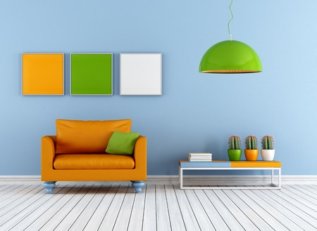Photo pour Colorful living room with armchair - rendering - image libre de droit
