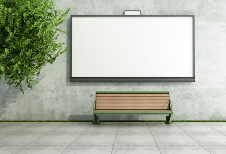 Blank street bilboard on grunge wall with bench - rendering