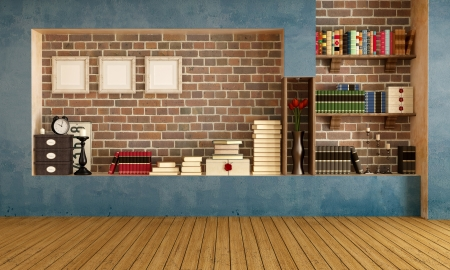 Empty retro  living room with vintage objects - rendering