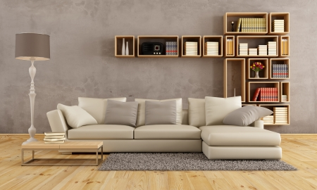 Photo pour Living room with elegant sofa and wall bookcase - rendering - image libre de droit