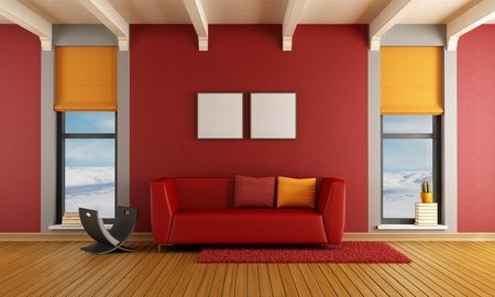 Red living room of a house in the mountains with  sofa and two windows - rendering - the image on background is a my photo