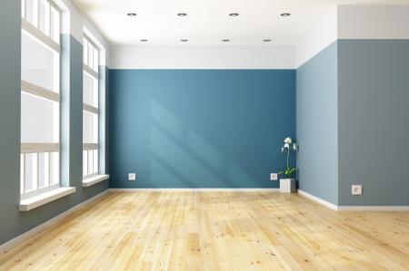 Empty blue living room with big windows - rendering
