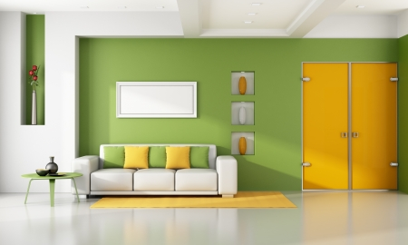 Green and orange modern livingroom - rendering