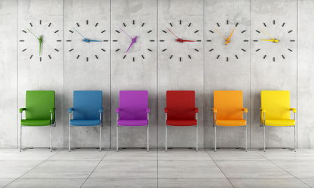 Waiting room with colorful chairs and clocks - rendering