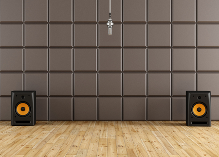 Professional microphone in a recording studio with brown acoustic panel speaker and wooden floor - rendering
