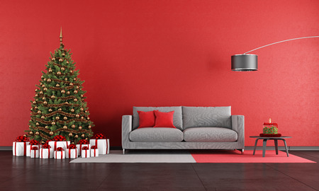 Photo for Modern christmas living room with sofa,tree and present - rendering - Royalty Free Image