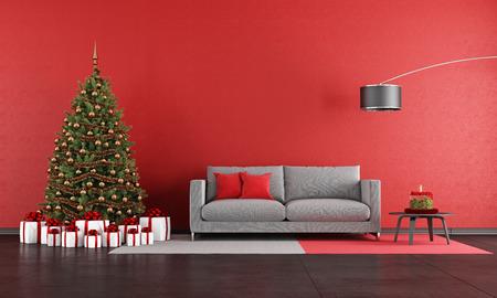 Foto de Modern christmas living room with sofa,tree and present - rendering - Imagen libre de derechos