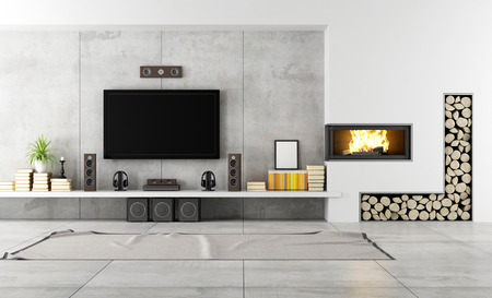 Photo pour Modern living room with TV and fireplace - rendering - image libre de droit