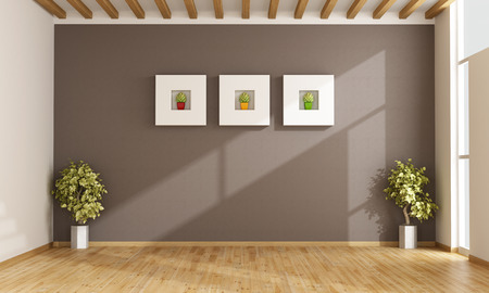 Photo pour Empty living room with brown wall,windows and parquet - 3D Rendering - image libre de droit