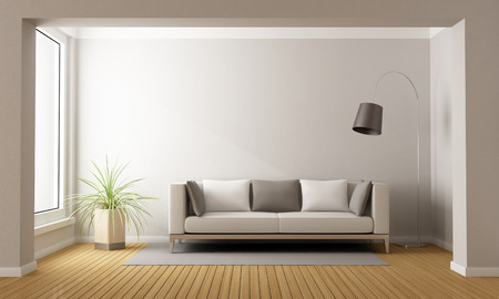 Minimalist living room with sofa on carpet - 3D Rendering