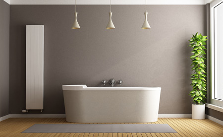 Photo for Minimalist bathroom with elegant bathtub, vertical heater and plant - 3D Rendering - Royalty Free Image