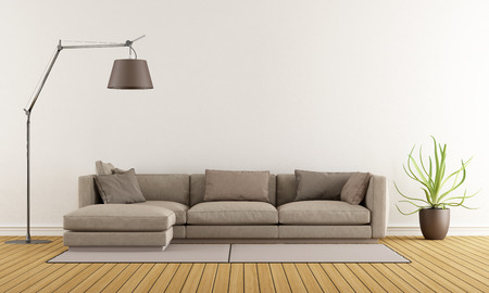Photo pour Modern lounge with brown sofa on carpet and floor lamp - 3D Rendering - image libre de droit