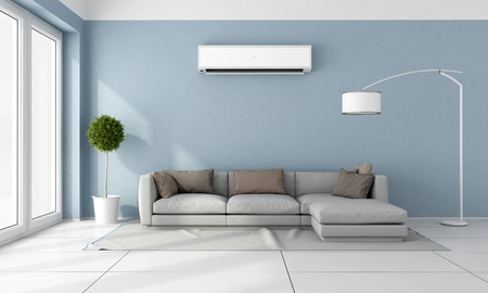 Photo pour Blue living room with  gray sofa and air conditioner on wall - 3D Rendering - image libre de droit