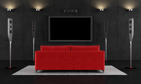 Contemporary home cinema with red sofa - 3D Rendering ...