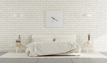 Minimalist white bedroom with double bed and brick wall - 3D Rendering