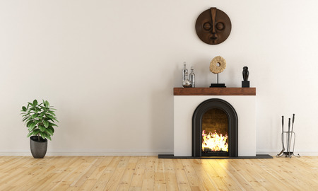 Empty room with minimalist fireplace with ethnic decor objects - 3D Rendering