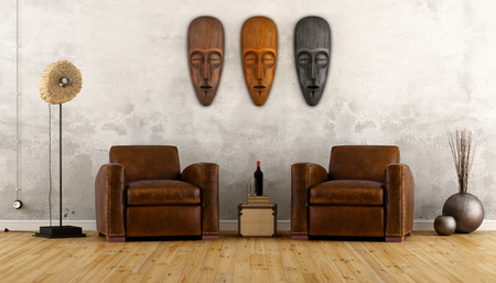 Foto de Vintage room in ethnic style with two leather armchair and african masks on wall - 3D Rendering - Imagen libre de derechos