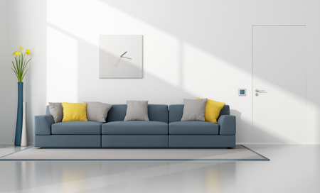 Photo pour White and blue modern lounge with sofa and closed door - 3D Rendering - image libre de droit