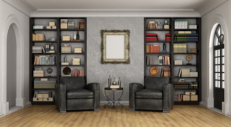 Photo pour Luxury living room with large bookcase full of books and two black classic armchairs - 3D Rendering - image libre de droit