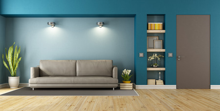 Photo pour Blue and brown modern livingroom with sofa, niche and closed door - 3D Rendering - image libre de droit
