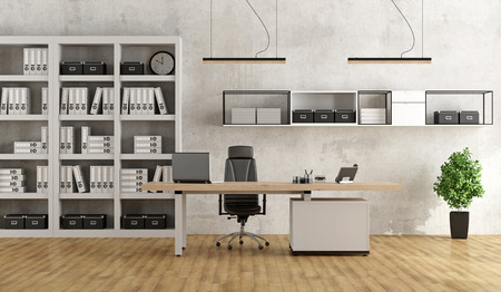 Black and white modern office with desk and bookcase - 3D Rendering