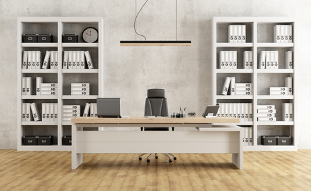 Photo for Black and white minimalist office with desk and bookcase - 3D Rendering - Royalty Free Image