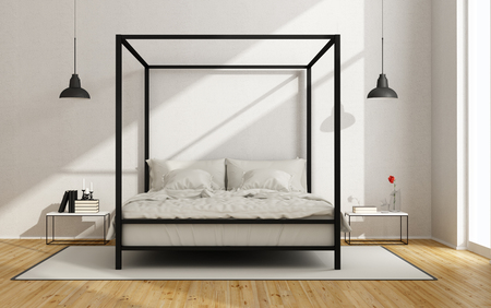 Foto de White bedroom with canopy bed in minimalist style - 3D Rendering - Imagen libre de derechos