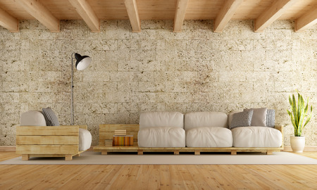 Foto de Modern living room with pallet sofa,stone wall and wooden ceiling - 3D Rendering - Imagen libre de derechos
