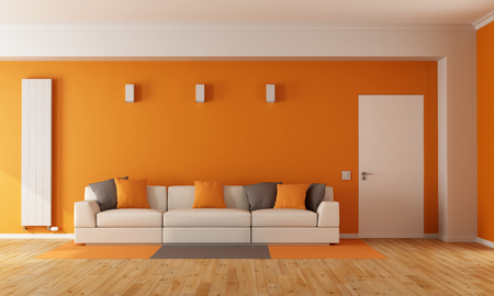 Photo pour Modern orange living room with white sofa and closed door - 3D Rendering - image libre de droit