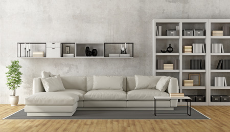 Photo pour Contemporary white living room with sofa, bookcase and sideboard on concrete wall - 3D Rendering - image libre de droit