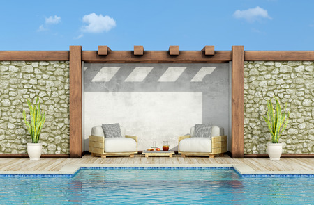 Foto de Garden with stone wall, swimming pool and two pallet armchair in a sunny day - 3d Rendering - Imagen libre de derechos