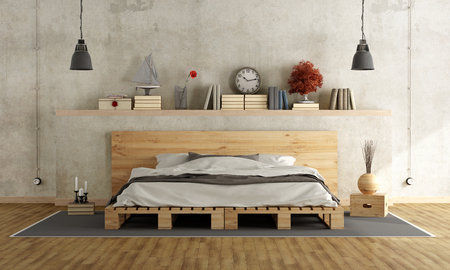 Photo pour Bedroom with concrete wall, pallett bed and vintage objects on shelf - 3D Rendering - image libre de droit