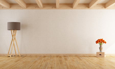 Empty withe room  with wooden beams,parquet,floor lamp and flowers- 3D Rendering