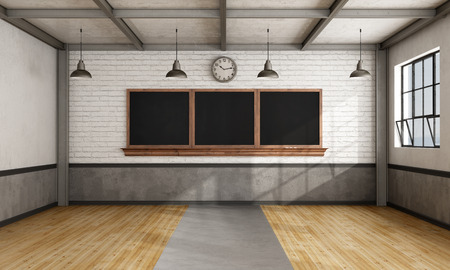 Empty retro classroom with blackboard  on brick wall   - 3D Rendering