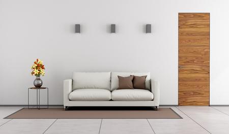 Photo pour Minimalist living room with wooden door and white sofa on carpet - 3D Rendering - image libre de droit