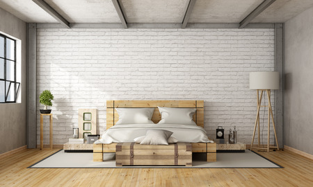 Foto de Wooden double bed in loft with brick wall and iron beams - 3D Rendering - Imagen libre de derechos