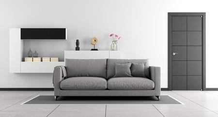 Foto de Black and white living room with sofa,wall unit and closed door - 3d Rendering - Imagen libre de derechos