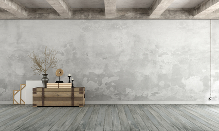 Photo pour Grunge Living room with old wall ,wooden chest on floor and concrete beams - 3d Rendering - image libre de droit