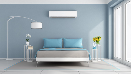 Foto de Blue contemporary bedroom with air conditioner - 3d rendering - Imagen libre de derechos